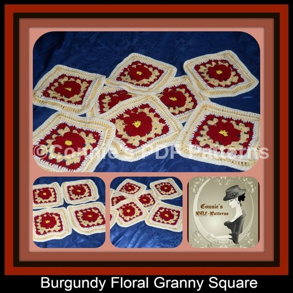 Burgundy Floral Granny Square Patterns.