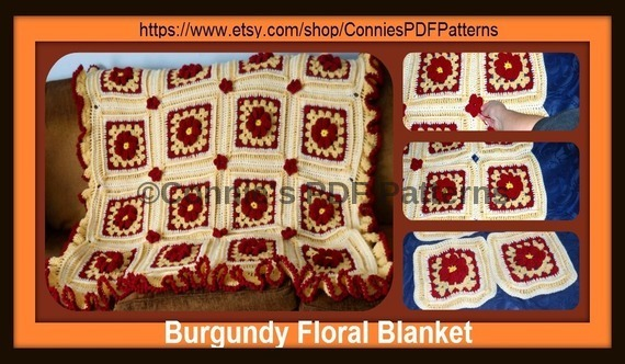 Beautiful Burgundy Floral Blanket.